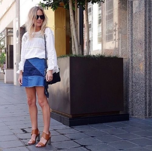 miniskirt and lace up shoes