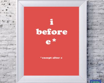 Printable saying grammar geek fun i before e except after c printable saying grammar geek fun i before e except after c instant printable pdf writer spelling gift editor teacher librarian sciox Image collections