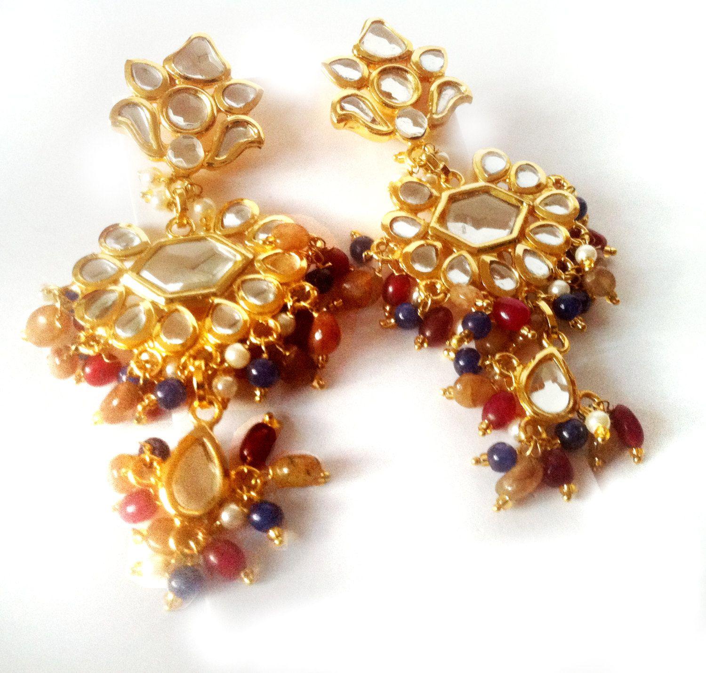 Kundan chandelier earrings multi colored beads mirror earrings22k kundan chandelier earrings multi colored beads mirror earrings22k gold plated earringsgold vermeil jewelrymughal royal earring by taneesi arubaitofo Images