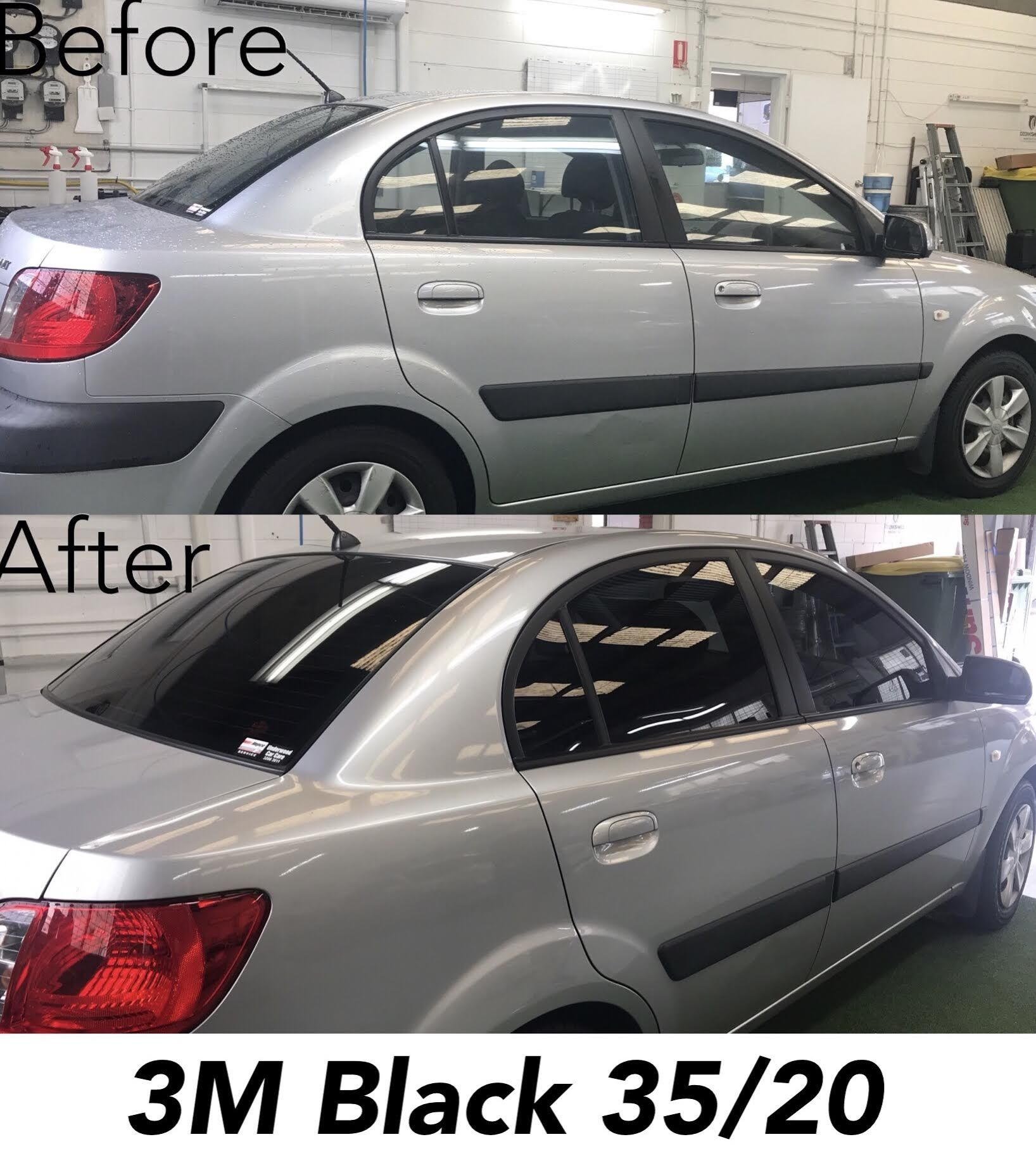 3m black window tint 3520 on kia rio before and after