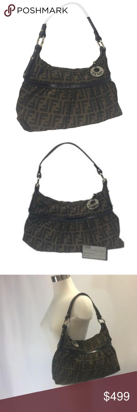 78b9f5d8b2 NWT Fendi Zucca   Leather with Fendi Zipper Pull WONDERFUL HANDBAG THAT IS  VERY EASY TO