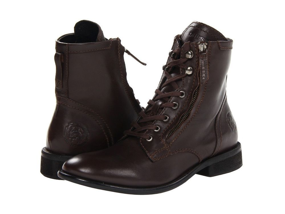 8d0928bd7b0 Details about Diesel Pataboot The Pit Brown Leather Boots - Men's ...