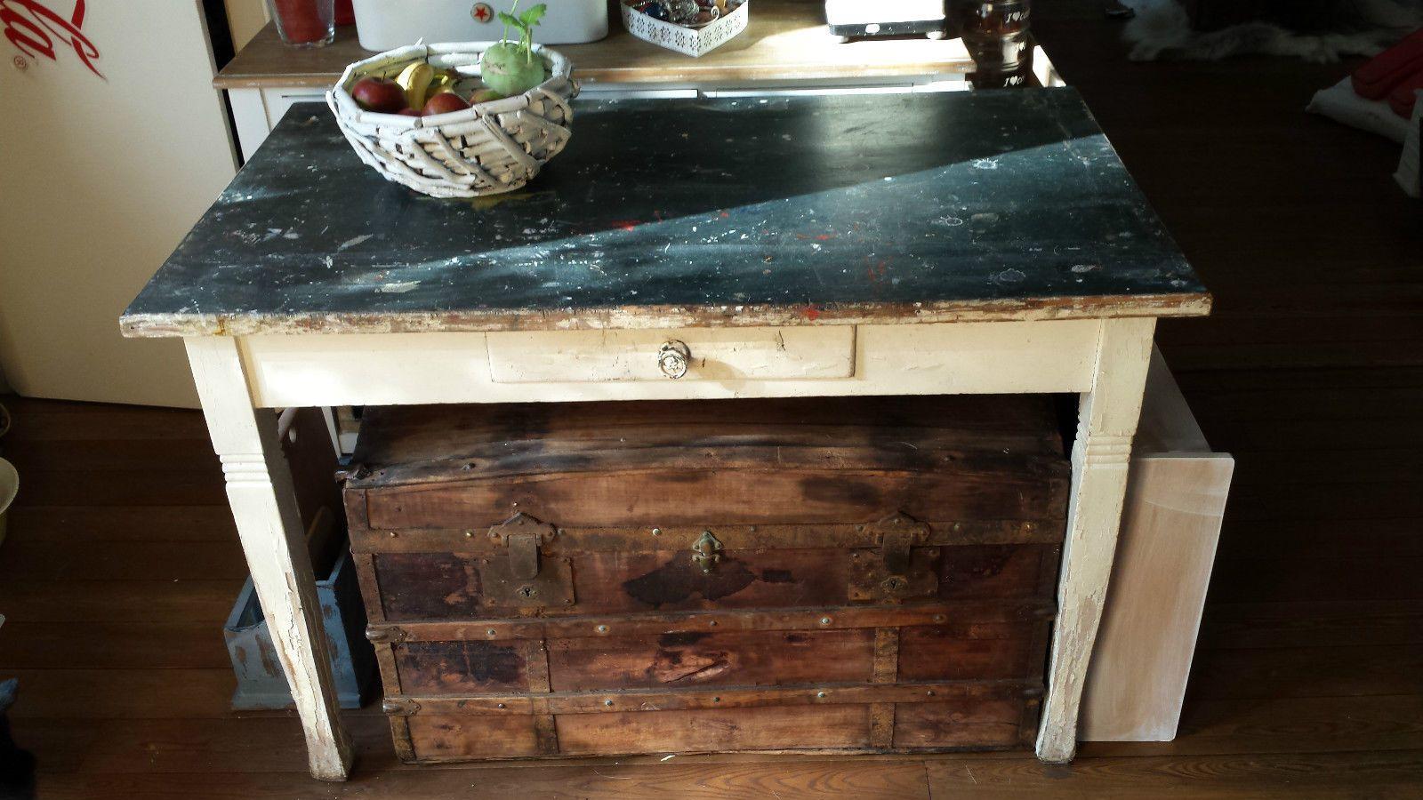 Antiker alter Esstisch Küchentisch Holztisch mit Schublade Küche ...