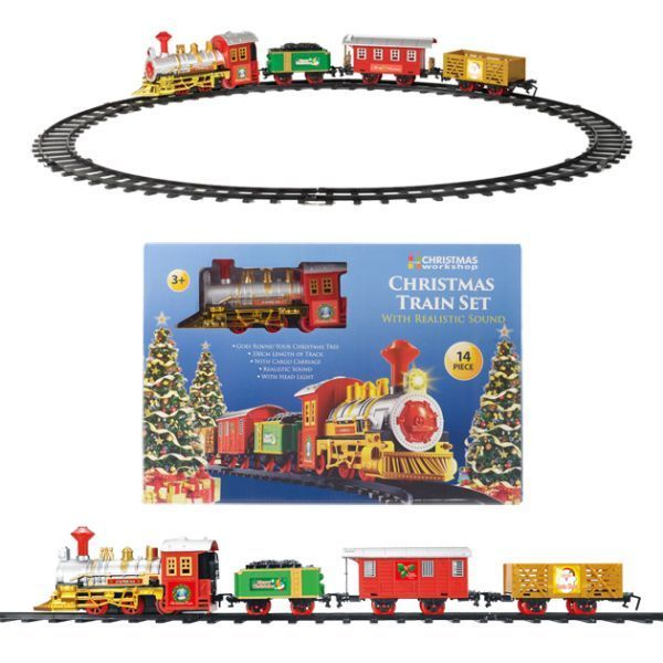14pc Christmas Train Set Battery Operated 330cm Long Track Go Around