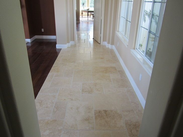 Travertine Combined With Timber Flooring Living Room Tiles Living Room Wood Floor