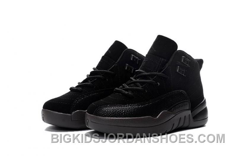 hot sale online 23082 3a97f 2016 Nike Air Jordan 12 XII Kids Basketball Shoes All Black Child Sneakers  Discount