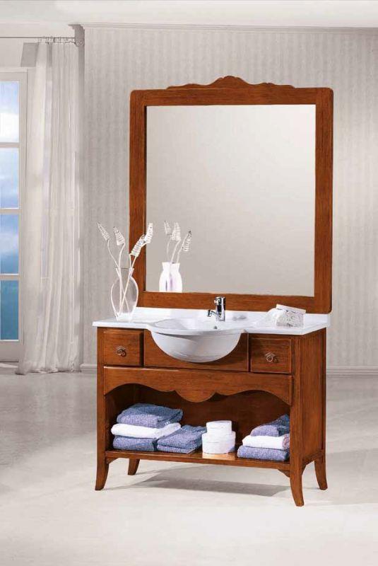 mobile bagno in legno compreso lavabo colore noce scuro arte povera art 422a