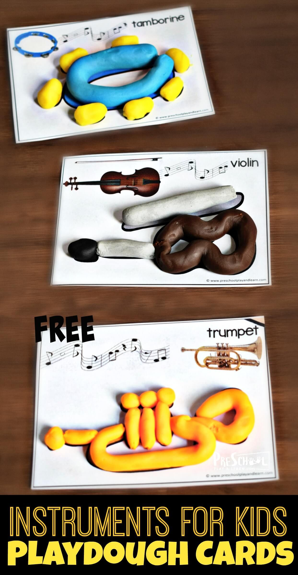 Free Instruments For Kids Playdough Cards