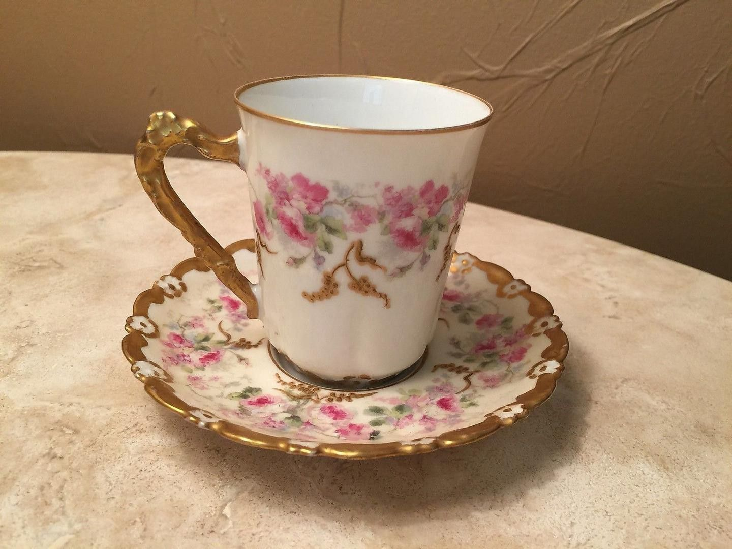 Antique Limoges Demitasse Cup And Saucer Pink And White Floral