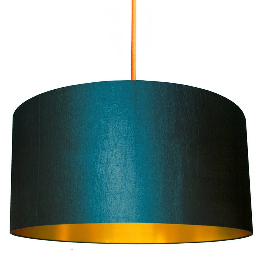 Schlafzimmer Lampe Petrol Gold Lined Lampshade In Peacock Or Petrol | Blauer Lampenschirm, Lampenschirm, Kupfer Beleuchtung