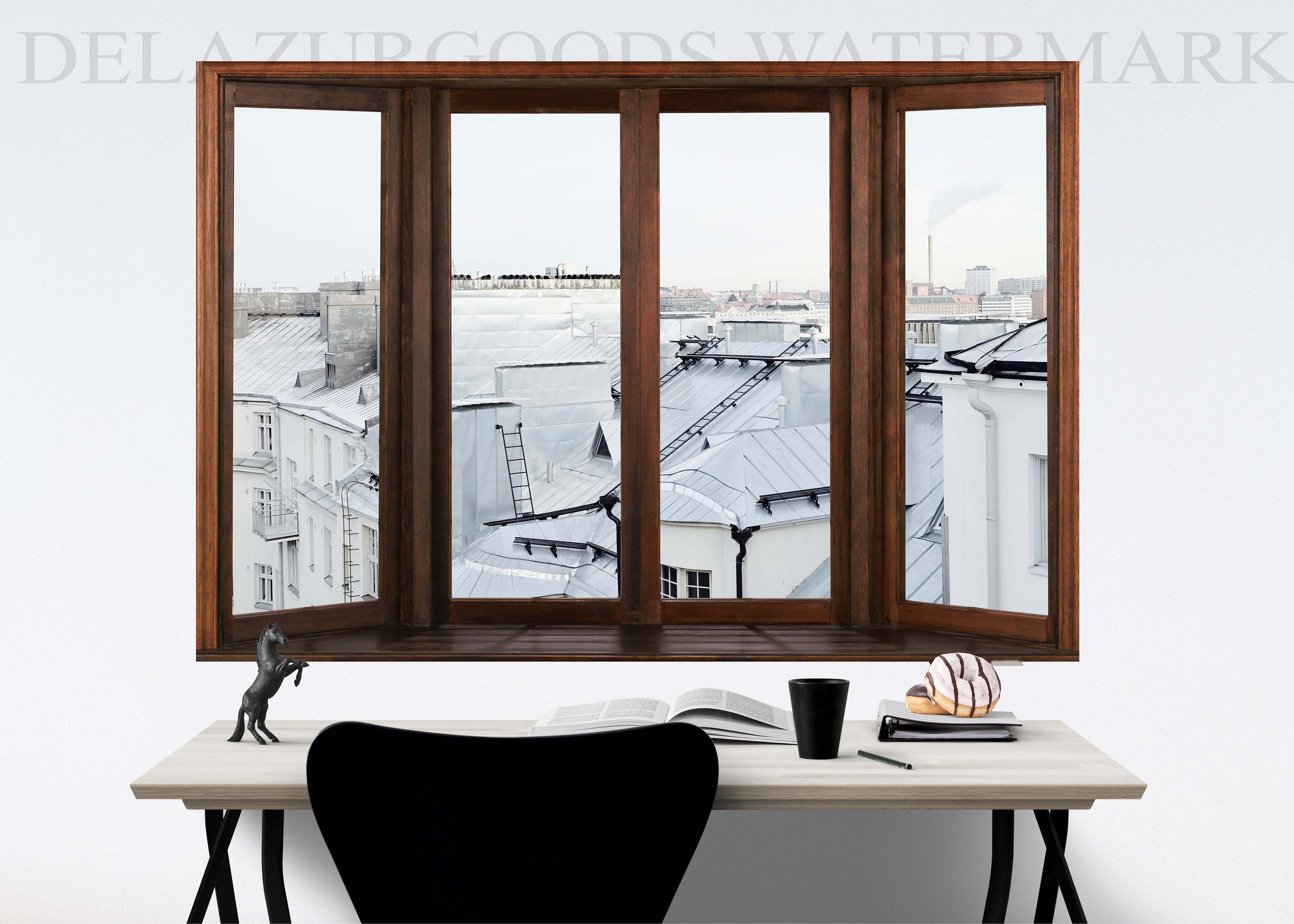 Jungle House Window View Wallpaper Peel And Stick Etsy Window View Jungle House View Wallpaper