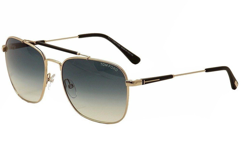 eb4e51b1e4 Amazon.com  Tom Ford Men s Edward Square Aviator Sunglasses in Shiny Gold  Brown Gradient FT0377 28K 58  Clothing
