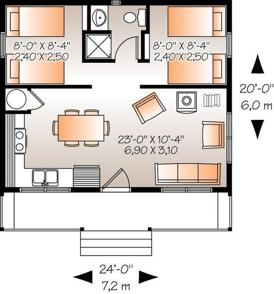 House Plan   Cottage Plan  Square Feet  Bedrooms