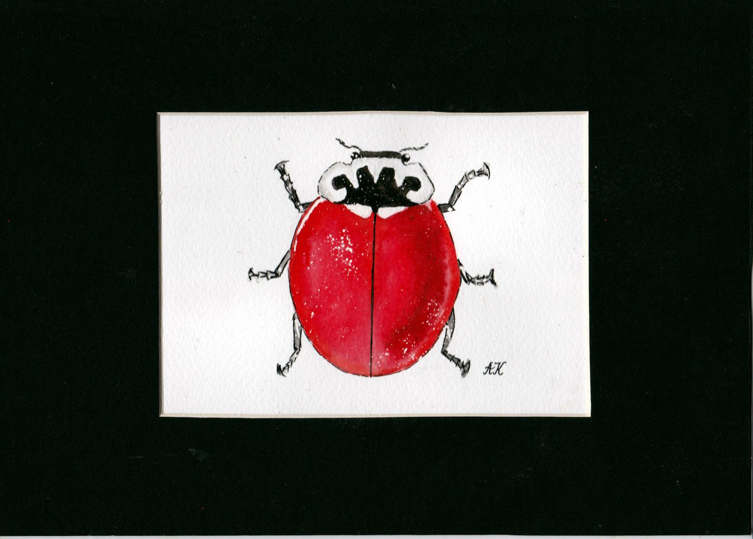 An original watercolour and ink painting of a red ladybird by AlinaBjelos on Etsy