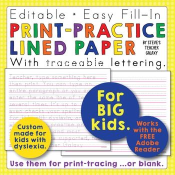 Free printing practice writing paper assortment pack!Follow - printing on lined paper