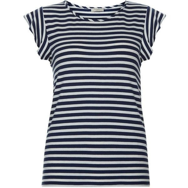 Hobbs Vanessa Stripe T-Shirt, Navy/White (¥3,045) ❤ liked on Polyvore featuring tops, t-shirts, striped tee, round neck t shirt, navy t shirt, print t shirts and navy blue t shirt