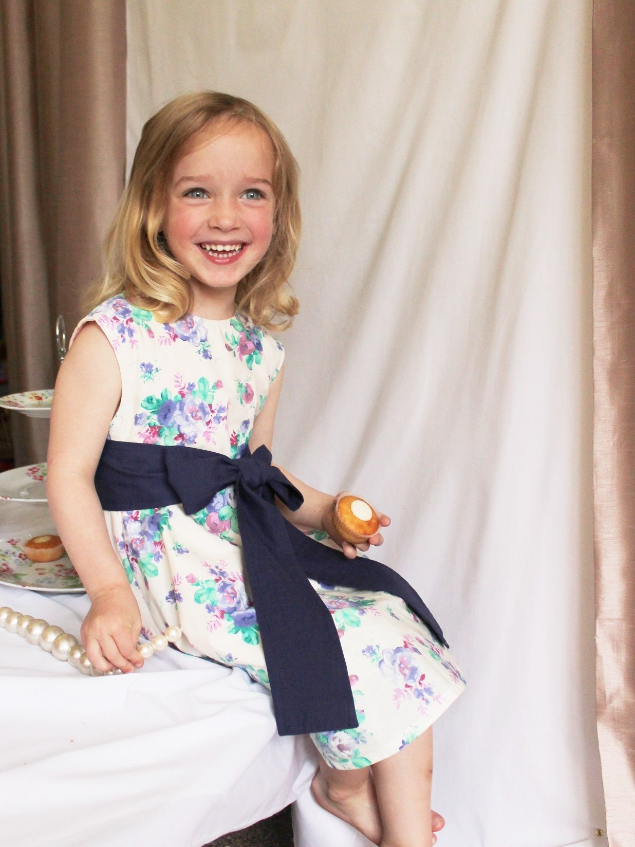 Beautiful Vintage Style Tea Dress in Elegant Floral print. Size 3-4 years , fully lined with frills and matching bow , avaliable from daisyrockdesigns.co.uk