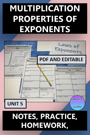 Laws of Exponents Multiplication Properties Notes Practice