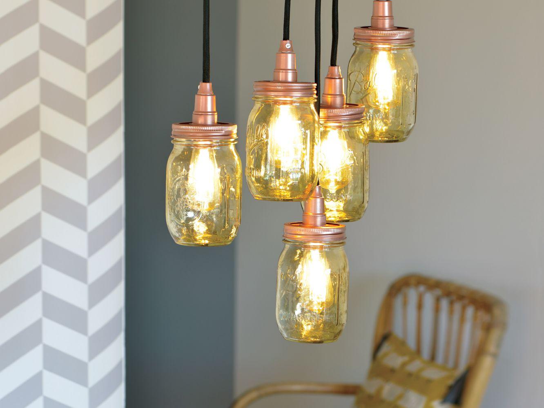 comment faire une lampe avec des bocaux nos tutos custos idee deco salon deco et passion. Black Bedroom Furniture Sets. Home Design Ideas