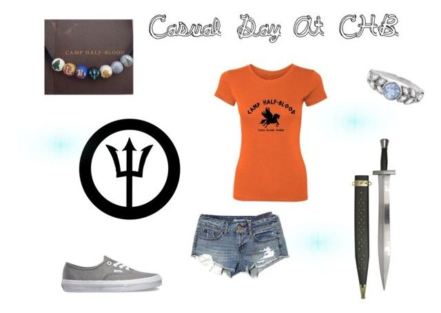 """""""Casual Day At CHB"""" by randomaussie ❤ liked on Polyvore featuring S.W.O.R.D., American Eagle Outfitters, Cathy Waterman, Vans and percyjackson"""
