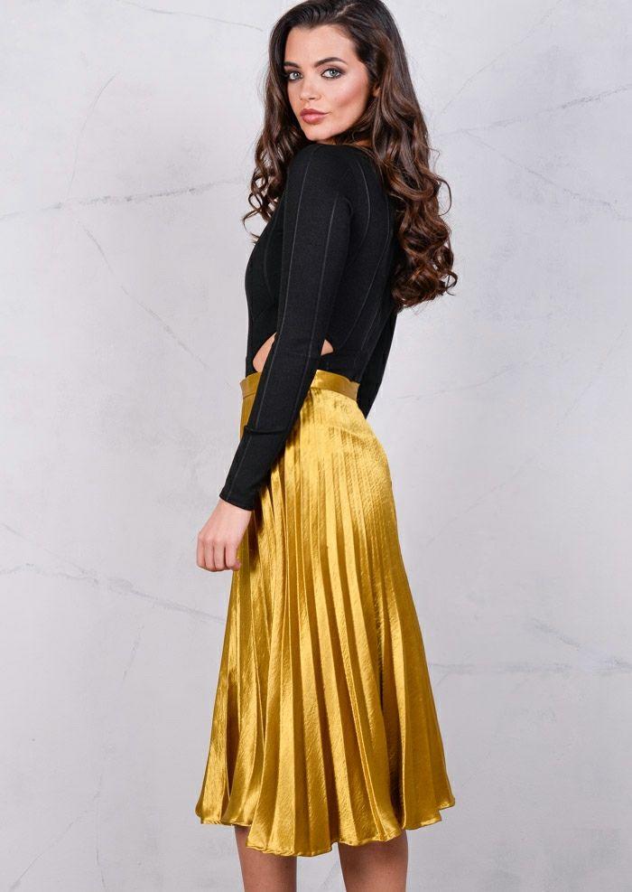 Pleated Satin Metallic Midi Skirt Mustard Gold | Pleated Skirt 2 ...