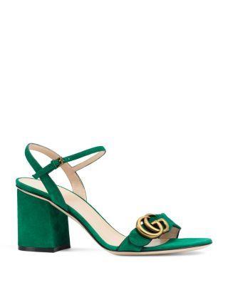 Gucci Marmont Suede Block-heel Sandals