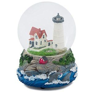 Amazon.com: Cape Cod Lighthouse Cottage 100MM Music Water Globe Plays Tune Dock of the Bay: Home & Kitchen