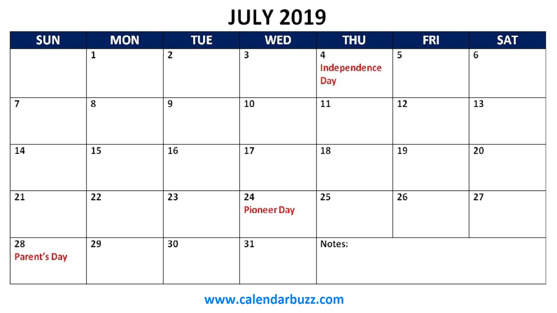 Free 2019 Holidays Printable Calendar Monthly Templates With