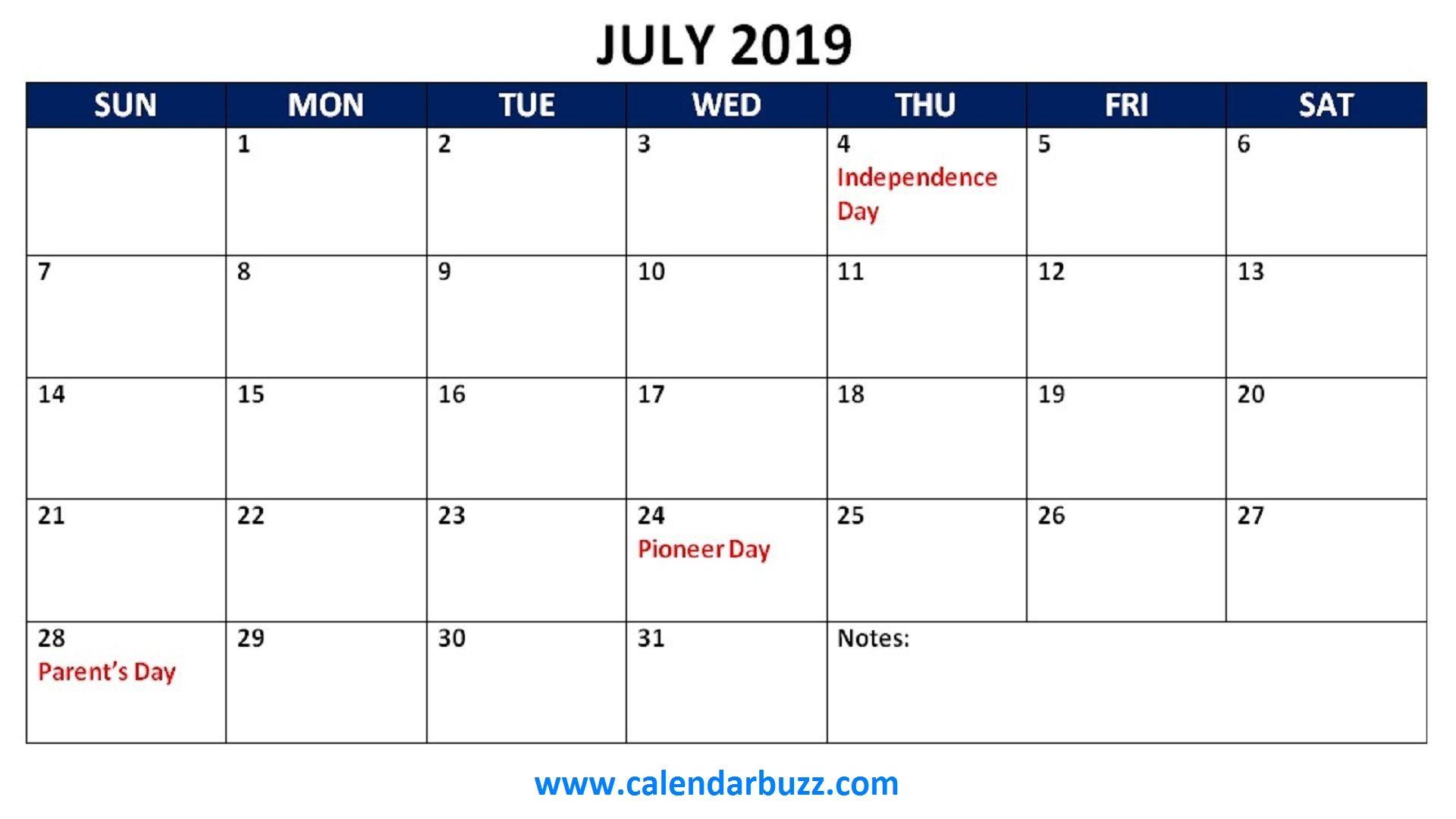 July 2019 Holidays Calendar Printable 2019 Calendars Pinterest