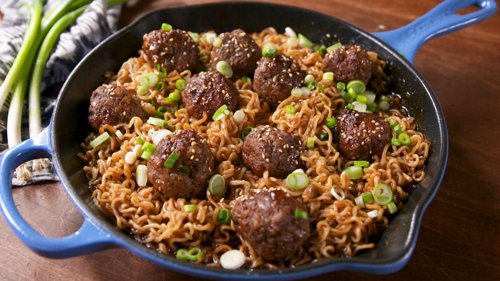 Mongolian Meatball Ramen Recipe Food Recipes Beef Recipes