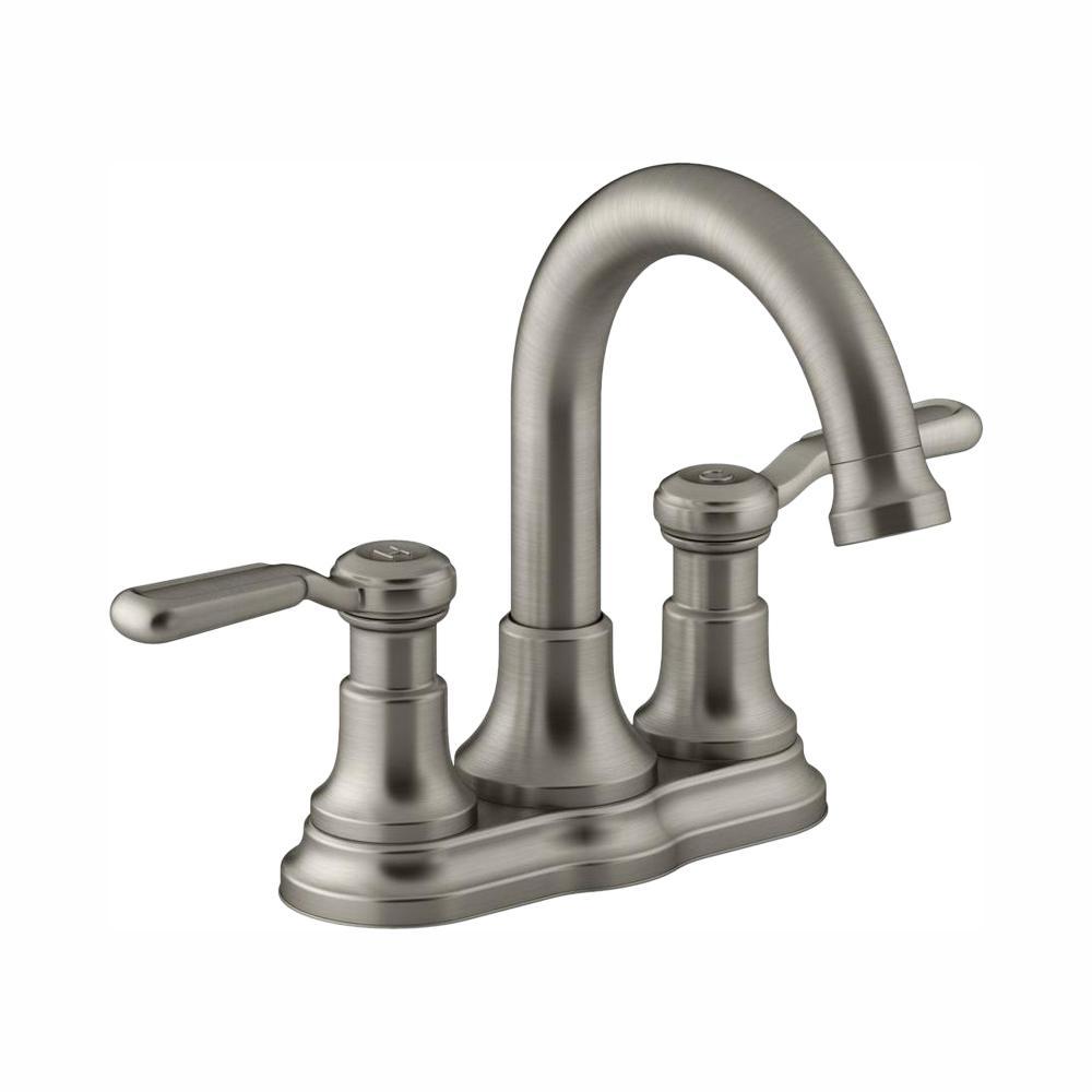 Kohler Worth 4 In Centerset 2 Handle Bathroom Faucet In Vibrant Brushed Nickel K R76256 4d Bn The Home Depot In 2020 Bathroom Faucets Faucet Sink Faucets