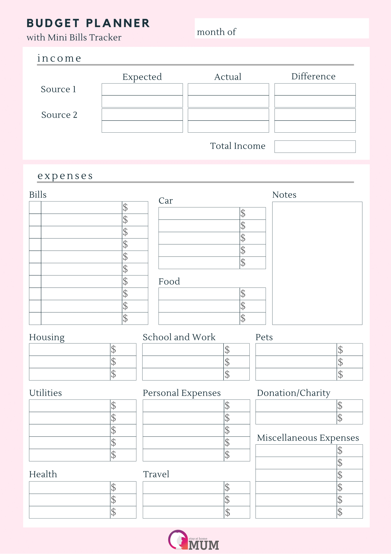 household budget planner