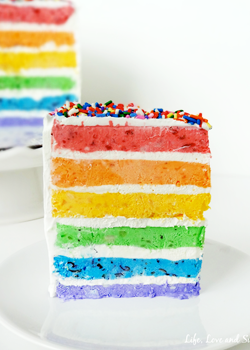 {Skinny} Rainbow Ice Cream Cake with Fresh Fruit