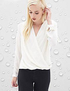 Polyester Hvit Tynn Langermet,V-hals Bluse Ensfarget Sexy / Gatemote Ut på byen Kvinner