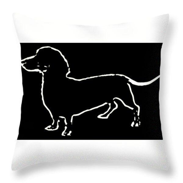 Pup Art Dachshund decorative designer throw pillow pop art silhouette black white 14x14 26x26 decorator cushion home decor dog pet pillows by HeatherJoyceMorrill on Etsy