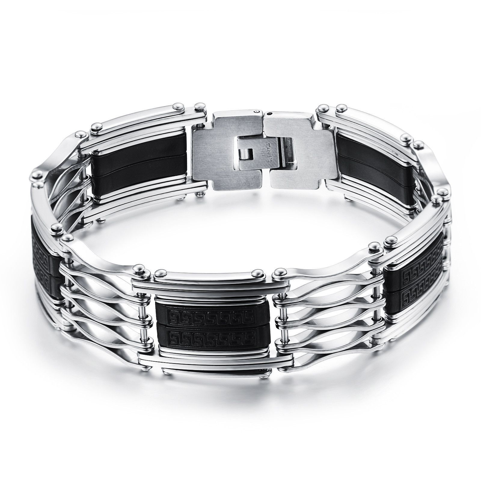 Buy silicone wrist strap with fret pattern hollow stainless steel