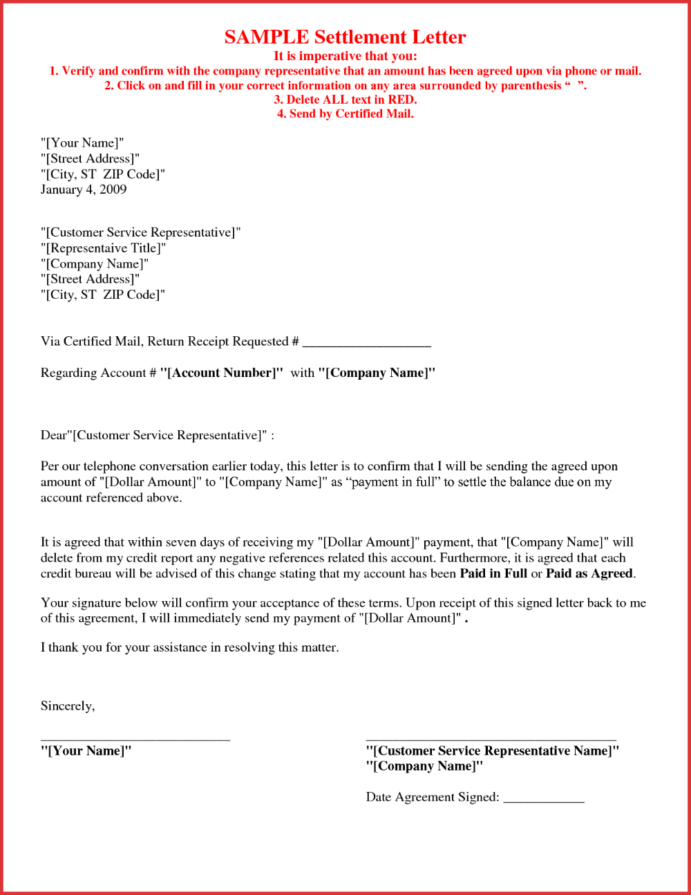 Debt Settlement Agreement Letter Template Collection
