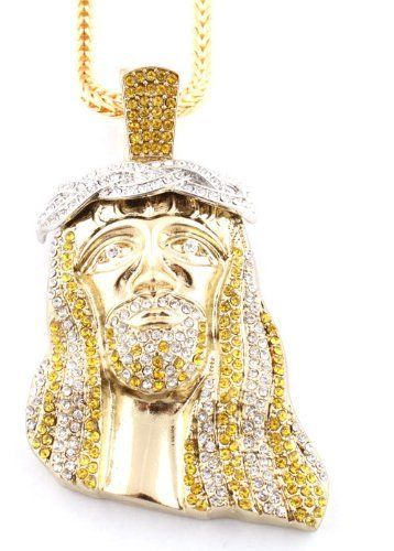 Gold With Yellow Clear Crowned Iced Out Kanye West Jesus Piece Pendant With A 36 Inch Franco Chain Necklace Jot Trendy Fashion Jewelry Jewelry Pieces Jewelry