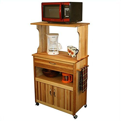 Catskill Craftsmen Microwave Cart With Open Enclosed Storage