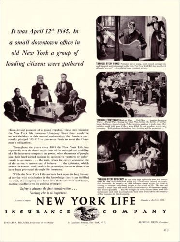 Cool 1939 New York Life Insurance Company Original Vintage Print
