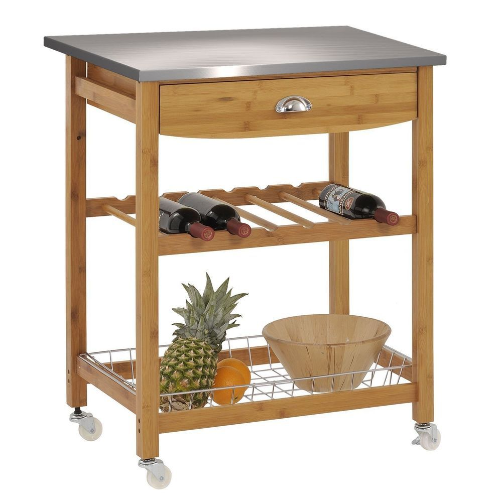 Kitchen island rolling wood cart stainless steel top storage drawer