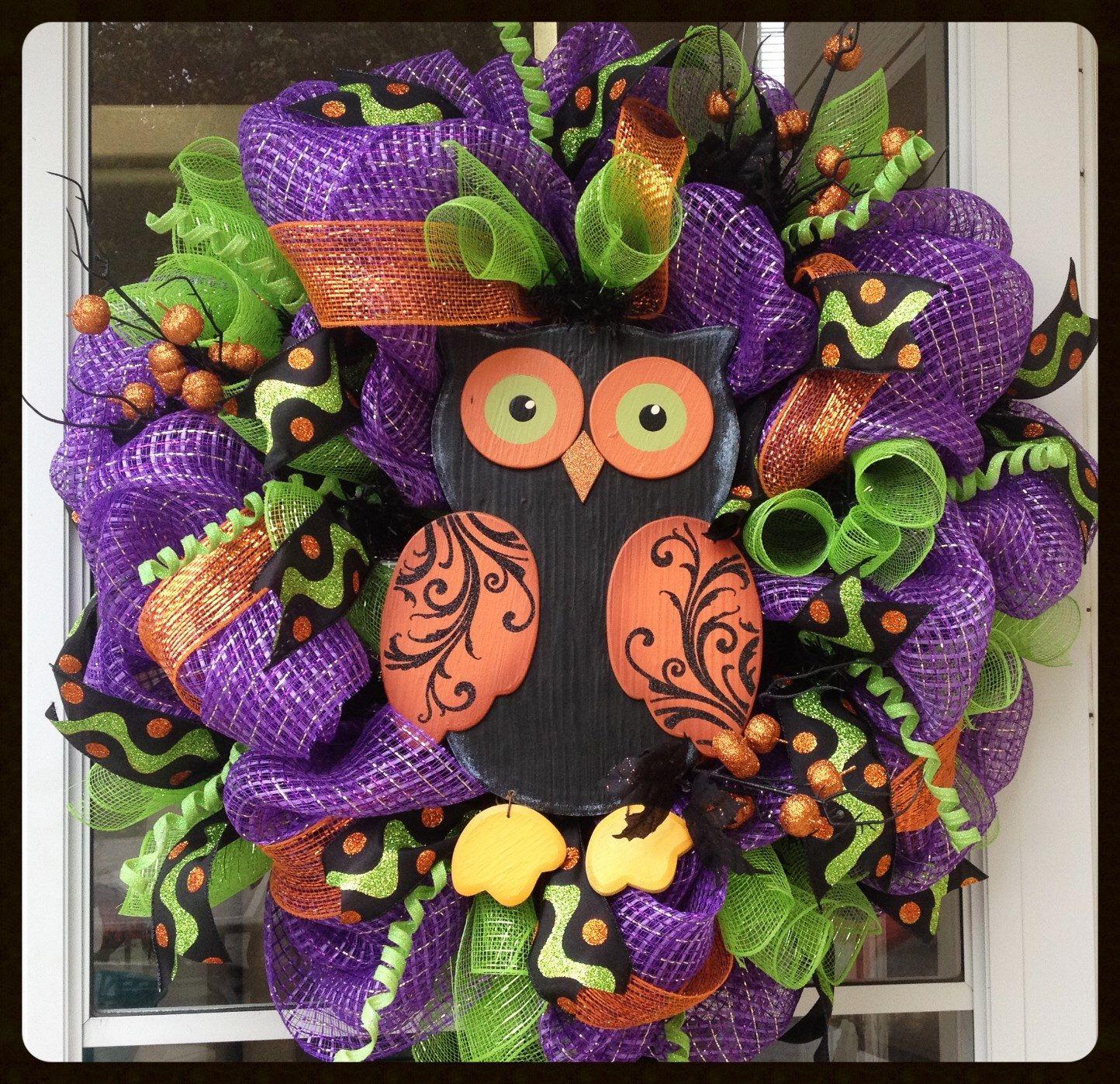 Fun and Whimsical Owl Halloween Wreath - Purple Orange Green Halloween Wreath - Halloween Decoration - Halloween Door Decor - Fall Wreath by StephsDoorDecor on Etsy https://www.etsy.com/listing/205131083/fun-and-whimsical-owl-halloween-wreath