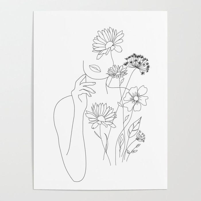 Photo of Minimal Line Art Woman with Flowers III Poster by nadja1