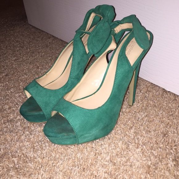 Green faux suede sling backs Worn a handful of times. Bought from shoedazzle, still in great condition! Shoe Dazzle Shoes Heels