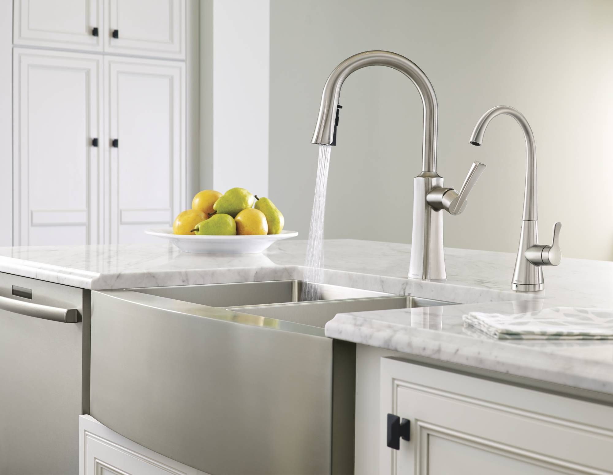 Stainless steel tall apron-front kitchen sink with coordinating ...