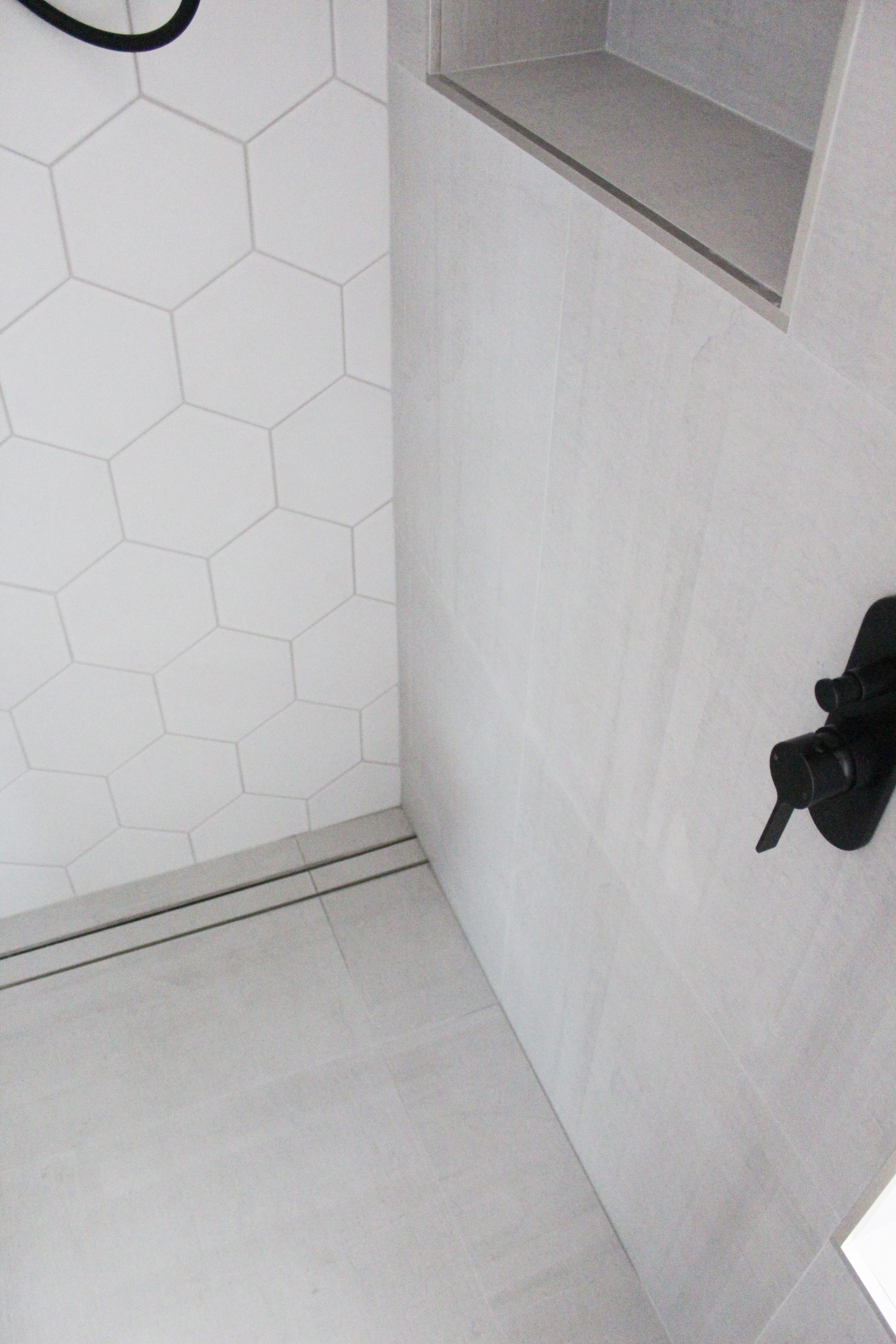 Hexagon Bathroom Tiles Hexagon Tiling Shower Recess Strip Drain
