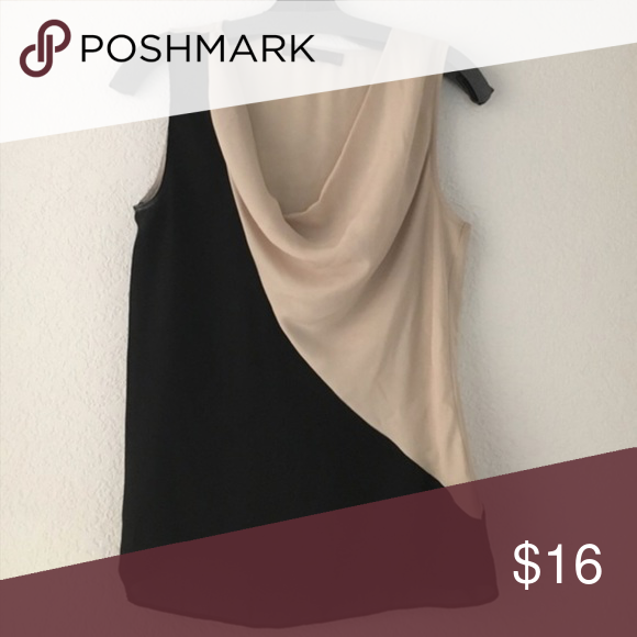 "cowl TANK TOP BLOUSE BLACK BEIGE COLORBLOCK S The limited Sz small polyester tank top with two-tone color block in black and BEIGE. Bust across max 17"" across, 26"" long. N15 The Limited Tops Blouses"