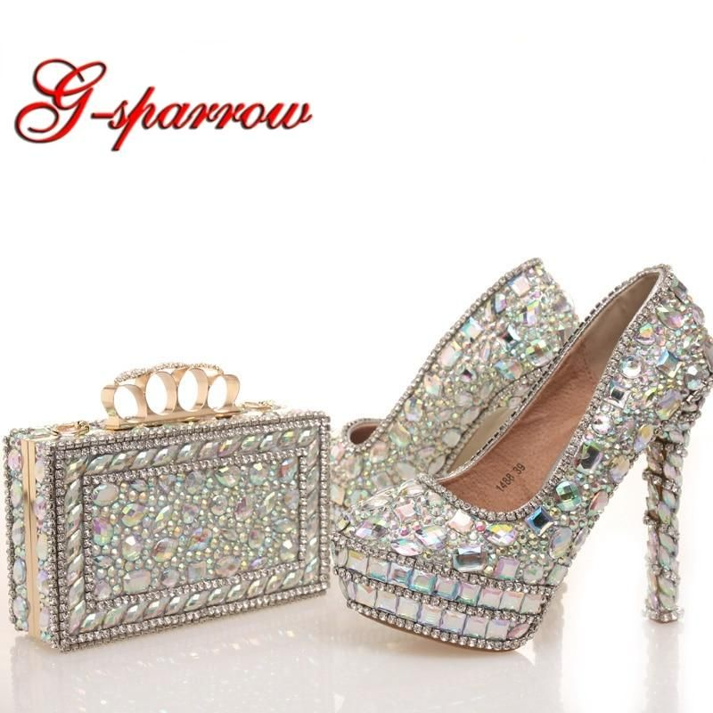 2018 New Designer Ab Crystal Wedding Shoes With Matching Bag