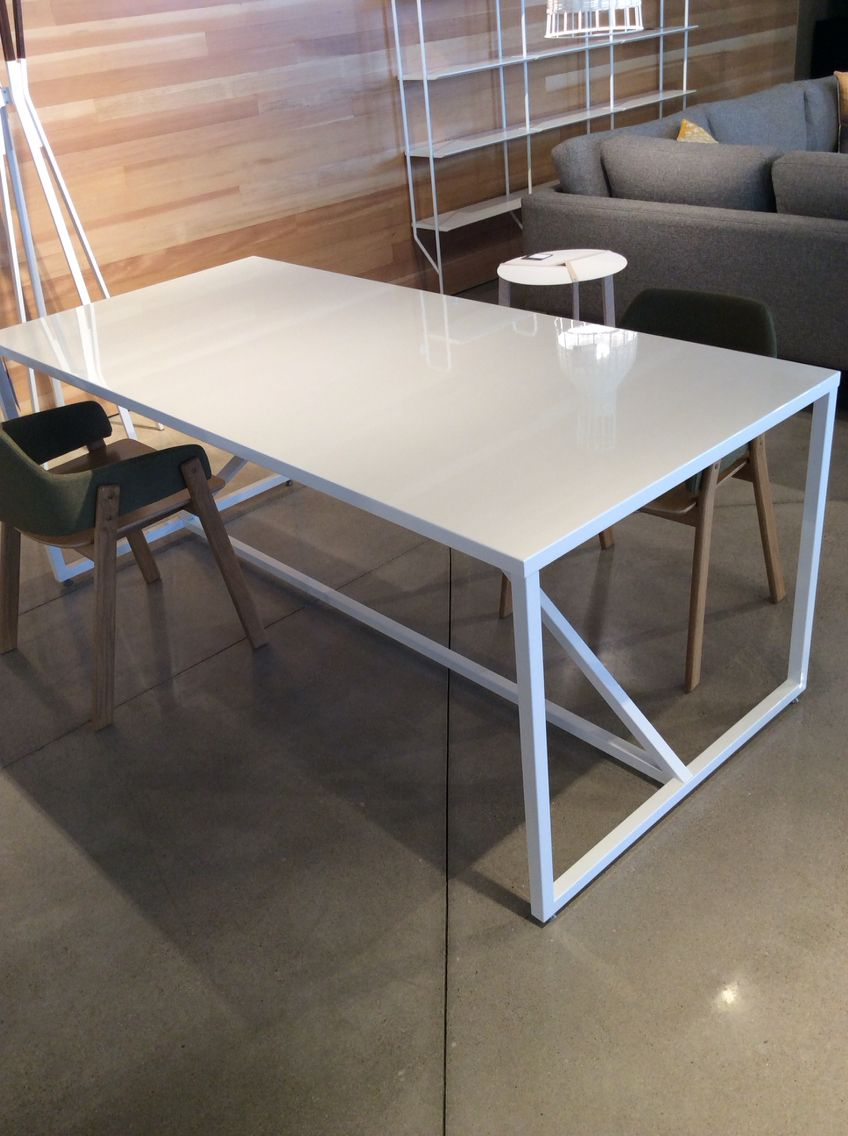 Lg Blu Dot Strut Table In White | Work Table Or Dining Table