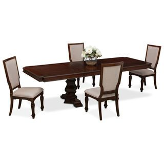 vienna rectangular dining table and 4 upholstered side chairs rh pinterest com